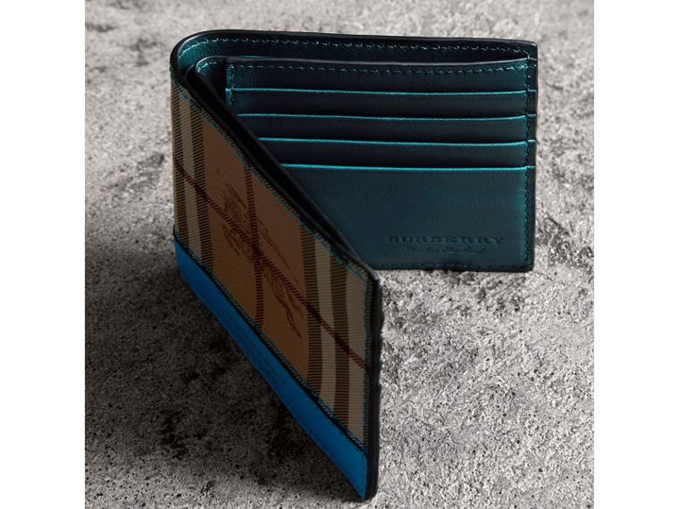Haymarket Check International Bifold Wallet in Bright Blue - Men | Burberry - cell image 4