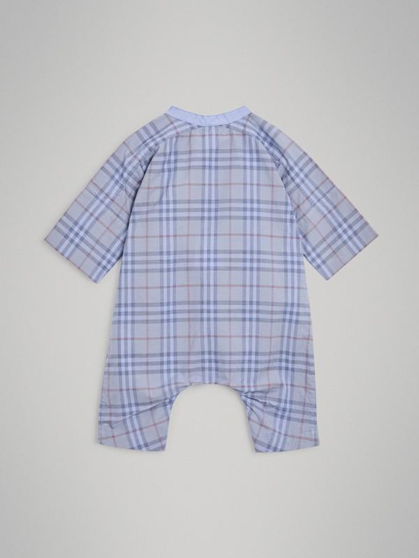 Bib Detail Check Cotton Jumpsuit in Dusty Blue - Children | Burberry Singapore - cell image 3