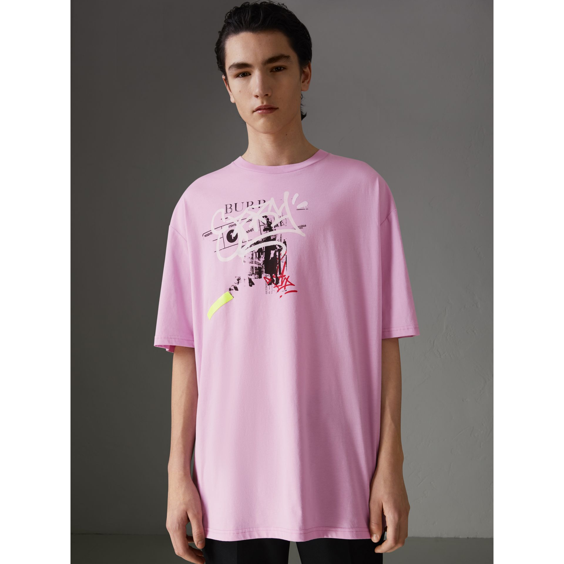 Graffitied Ticket Print Cotton T-shirt in Light Pink - Men | Burberry - gallery image 4