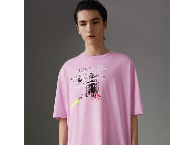 Graffitied Ticket Print Cotton T-shirt in Light Pink - Men | Burberry - cell image 4