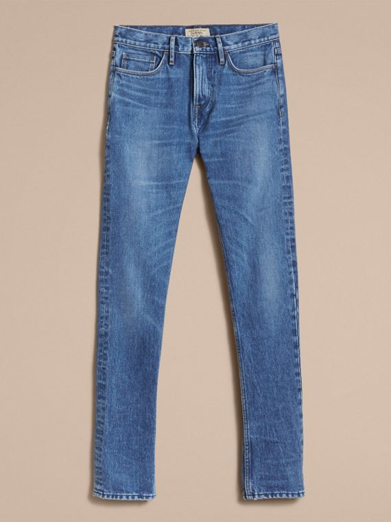 Skinny Fit Stretch-denim Jeans in Mid Indigo - Men | Burberry Canada - cell image 3