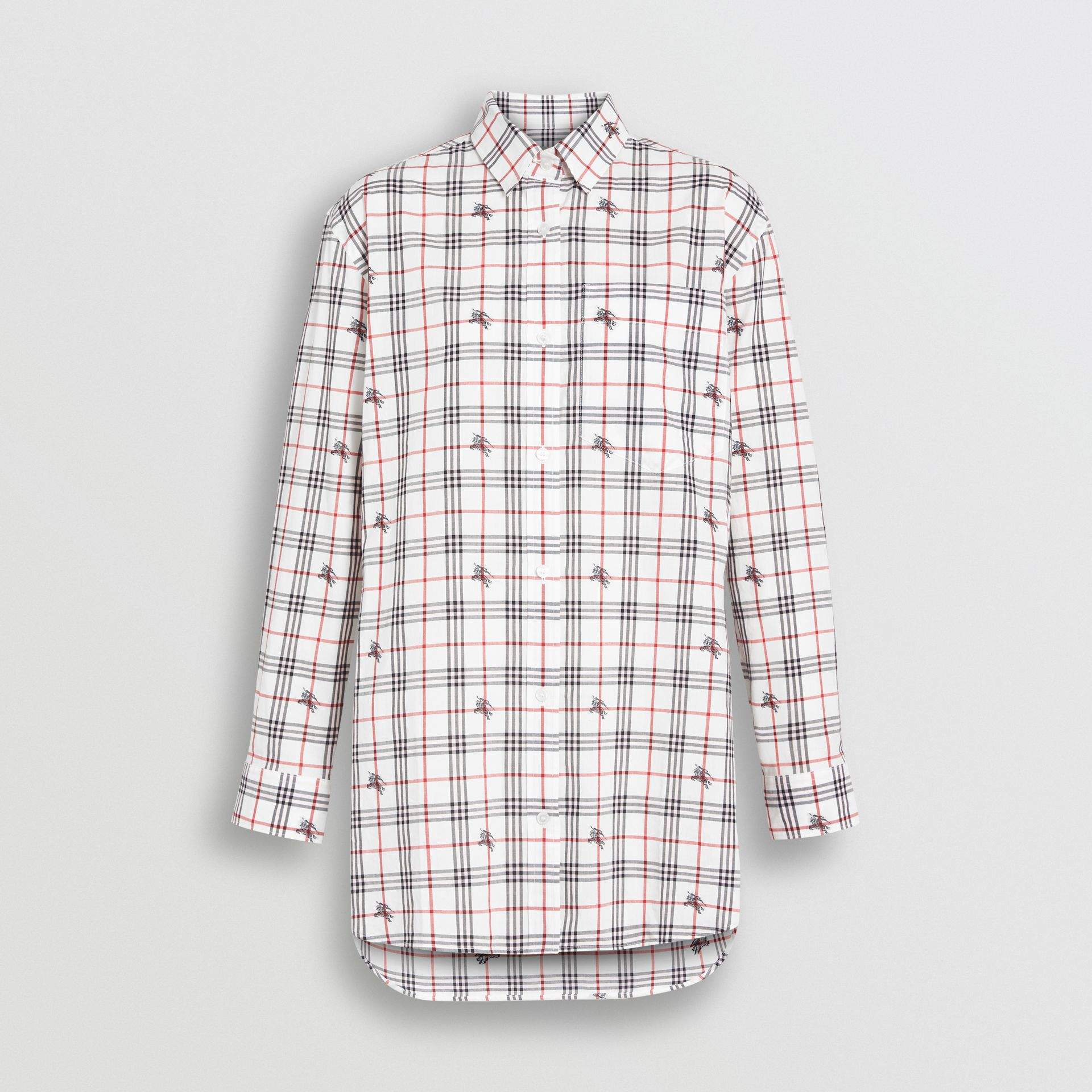 Equestrian Knight Check Cotton Shirt in Natural White - Women | Burberry - gallery image 3