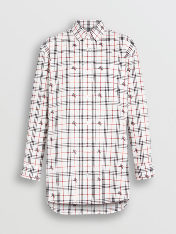 Equestrian Knight Check Cotton Shirt in Natural White - Women | Burberry United Kingdom - cell image 3