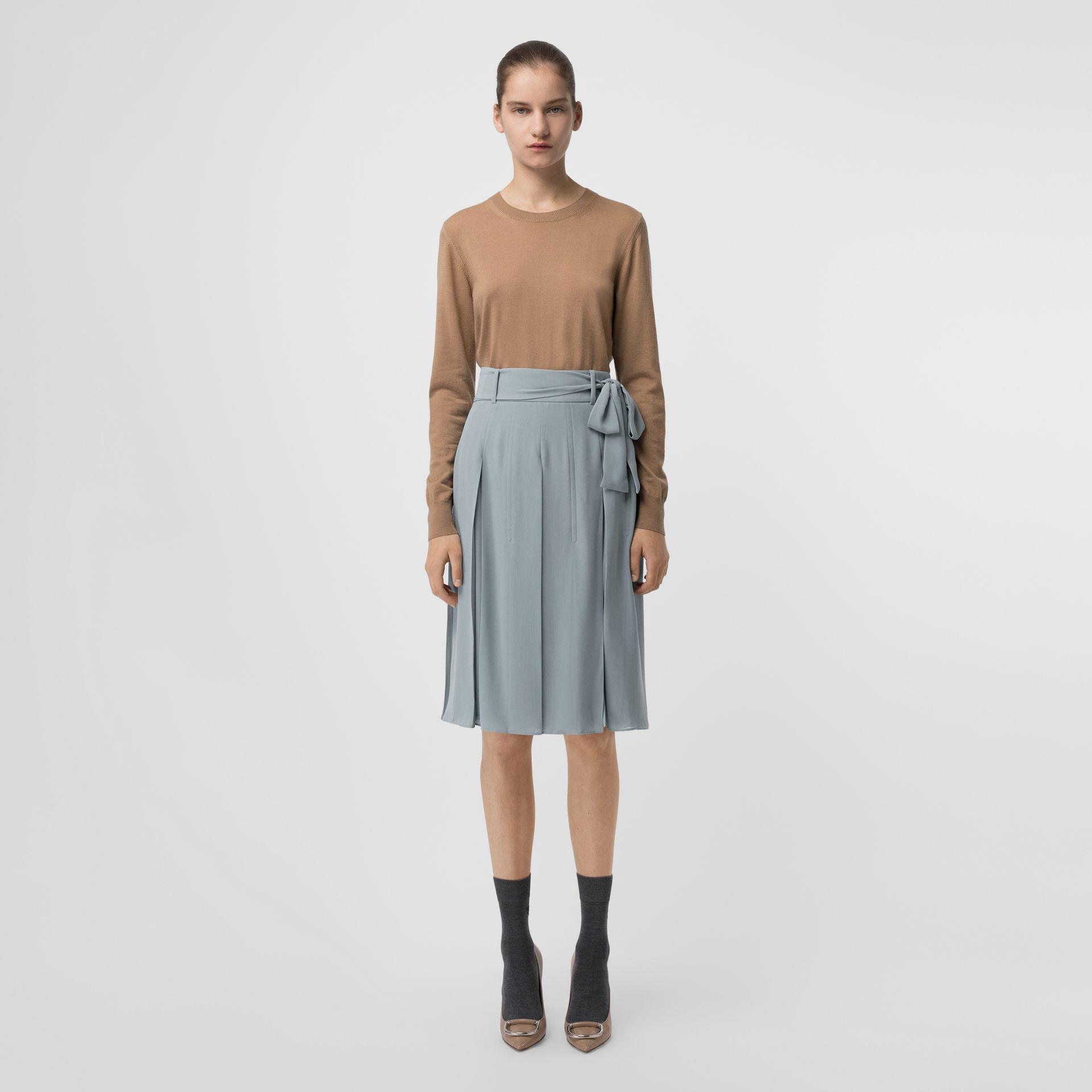 Tie-waist Pleated Georgette Skirt in Dusty Blue - Women | Burberry Singapore - gallery image 0