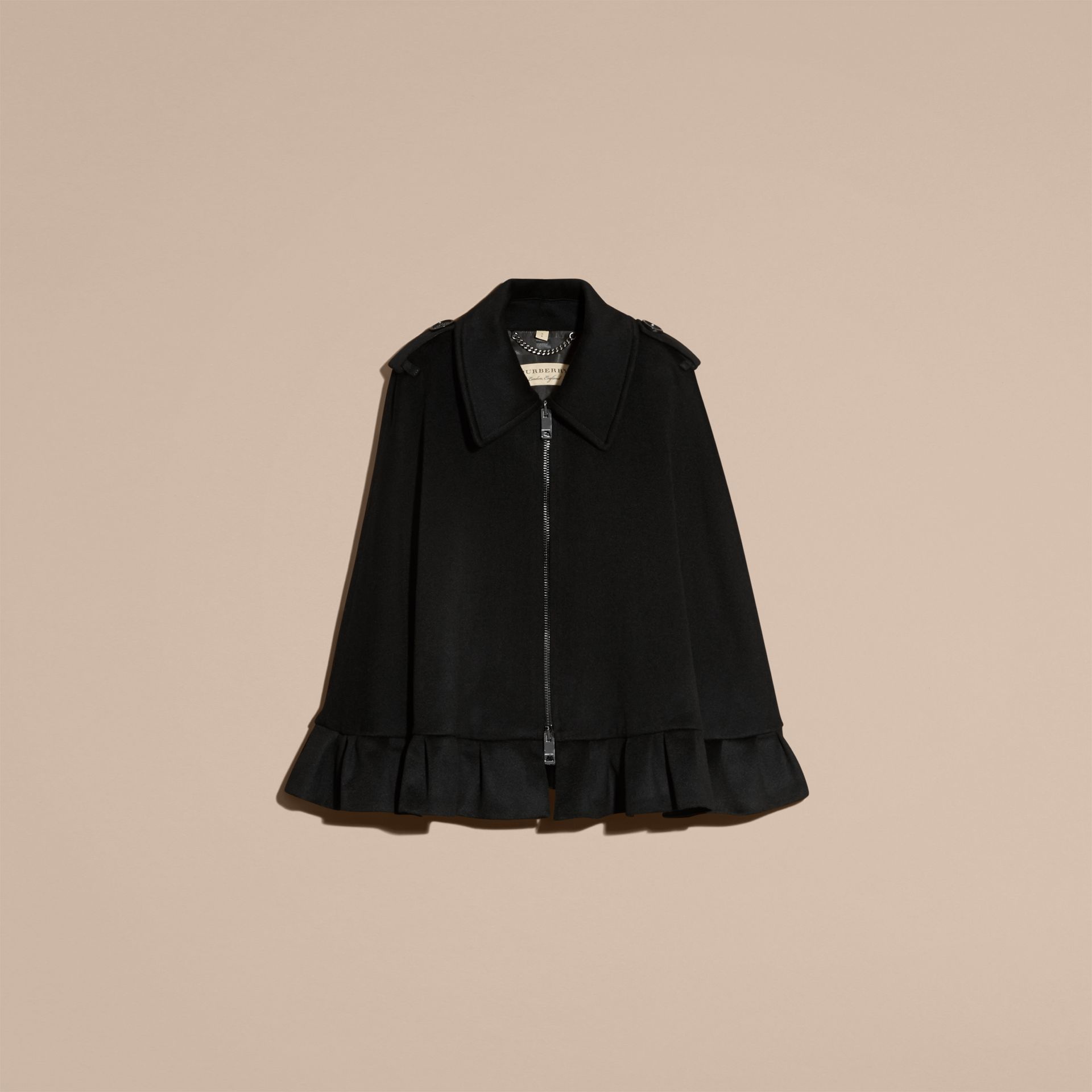 Black Ruffle Detail Cashmere Cape - gallery image 4