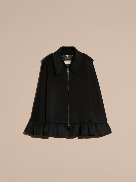 Black Ruffle Detail Cashmere Cape - cell image 3