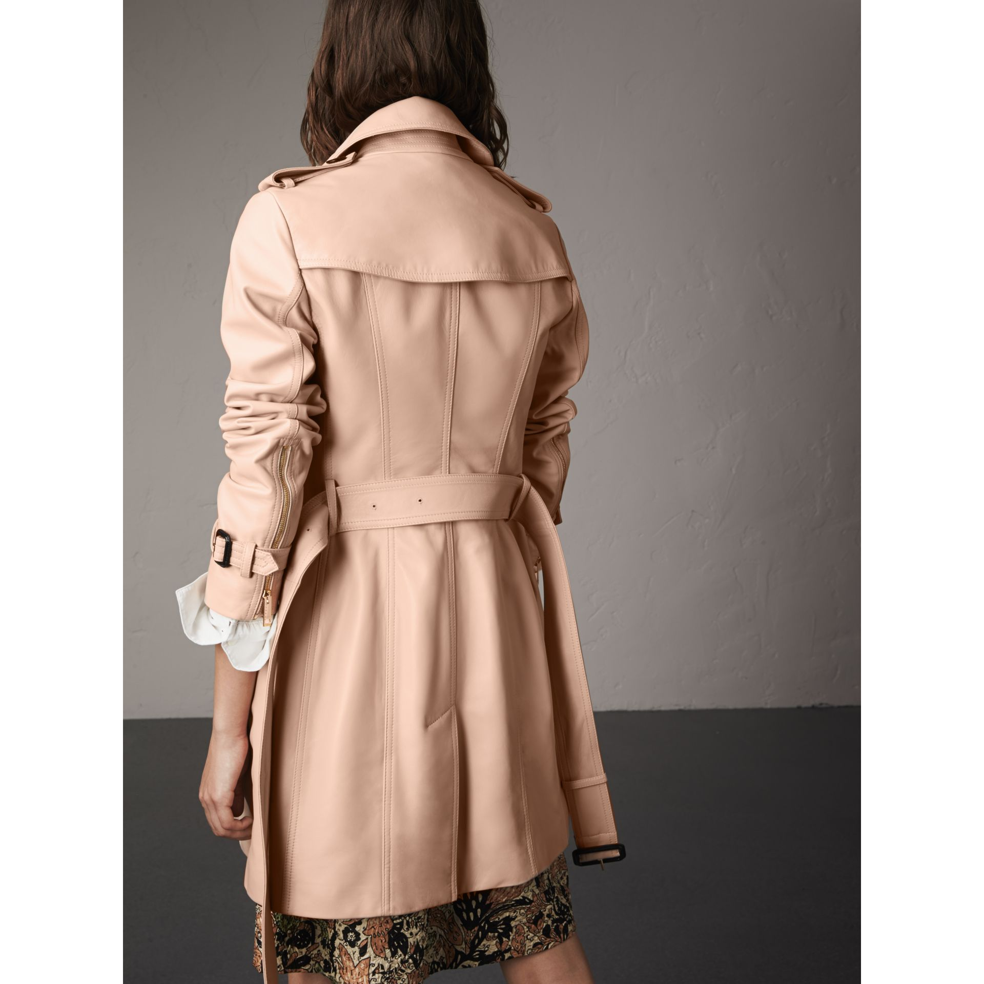 Lambskin Trench Coat in Pale Nude - Women | Burberry Australia - gallery image 3
