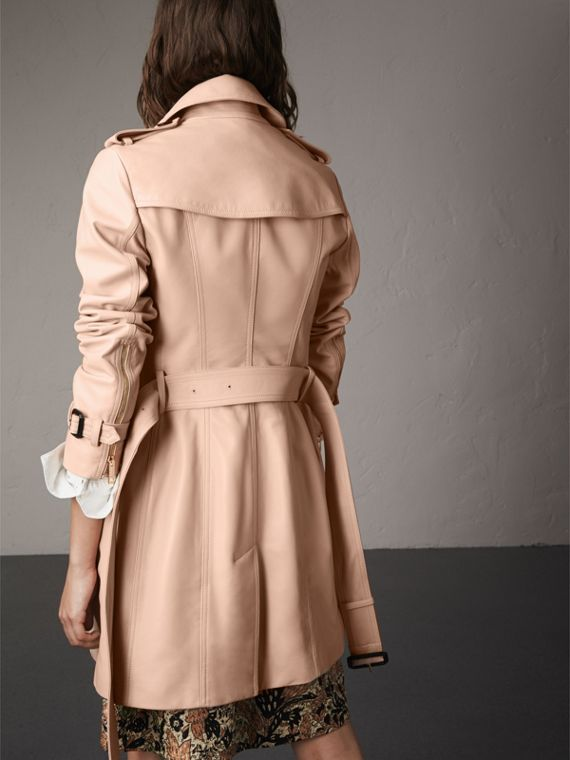 Lambskin Trench Coat in Pale Nude - Women | Burberry - cell image 2