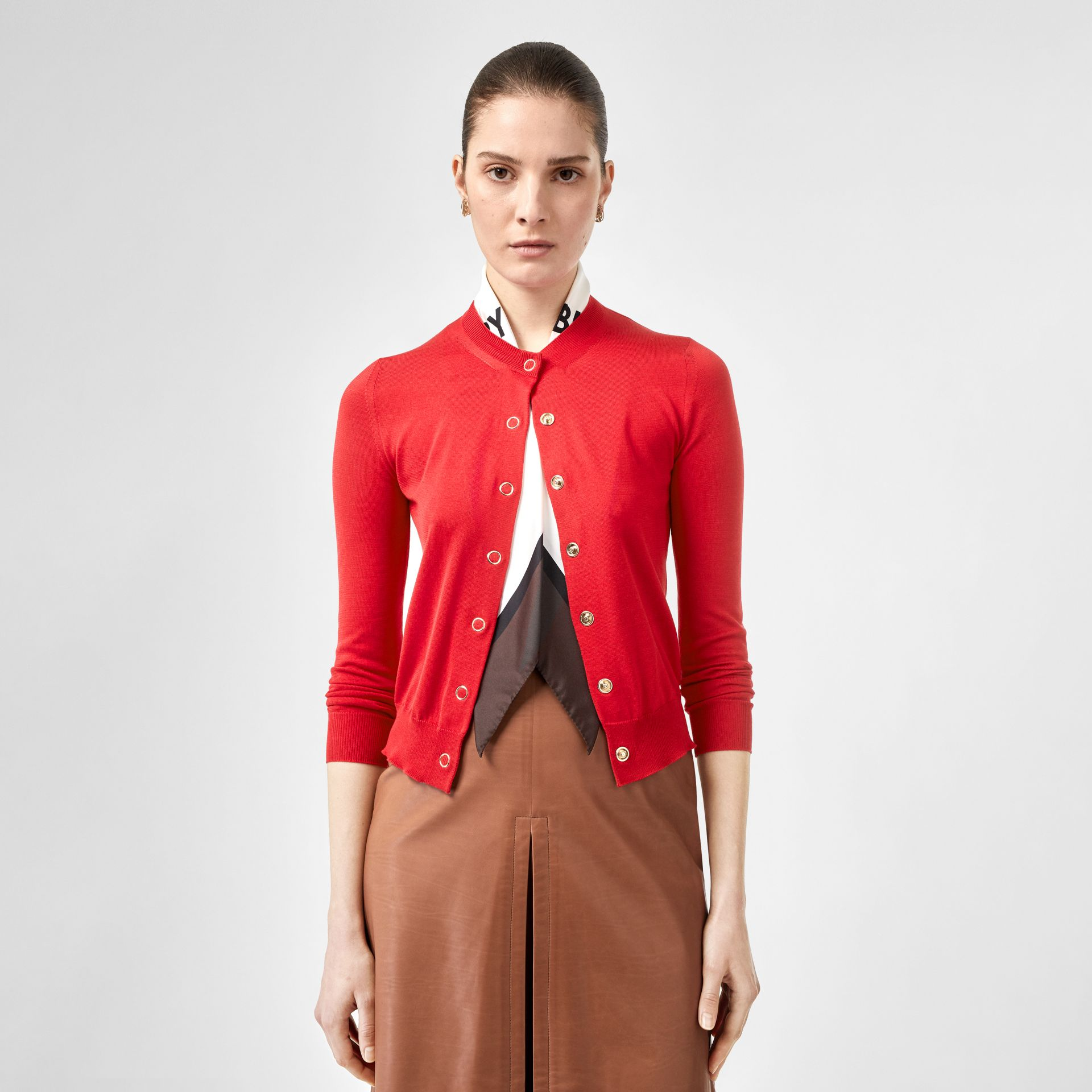 Scarf Detail Silk Cardigan in Bright Red - Women | Burberry - gallery image 4