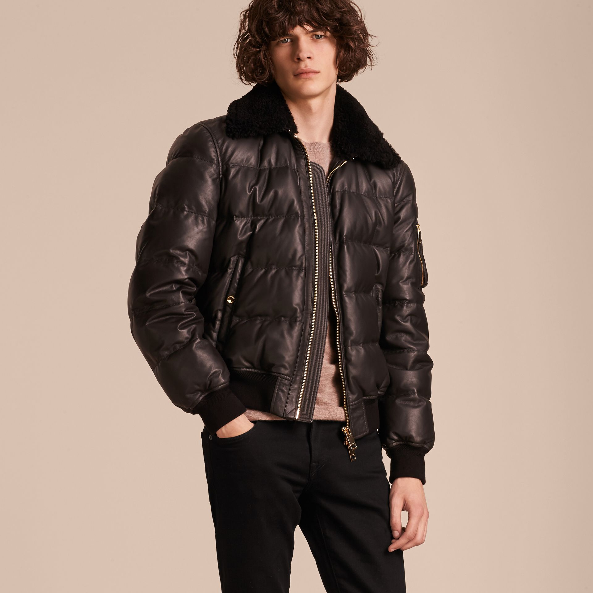 Chocolate brown Down-filled Lambskin Bomber Jacket with Shearling Collar - gallery image 7