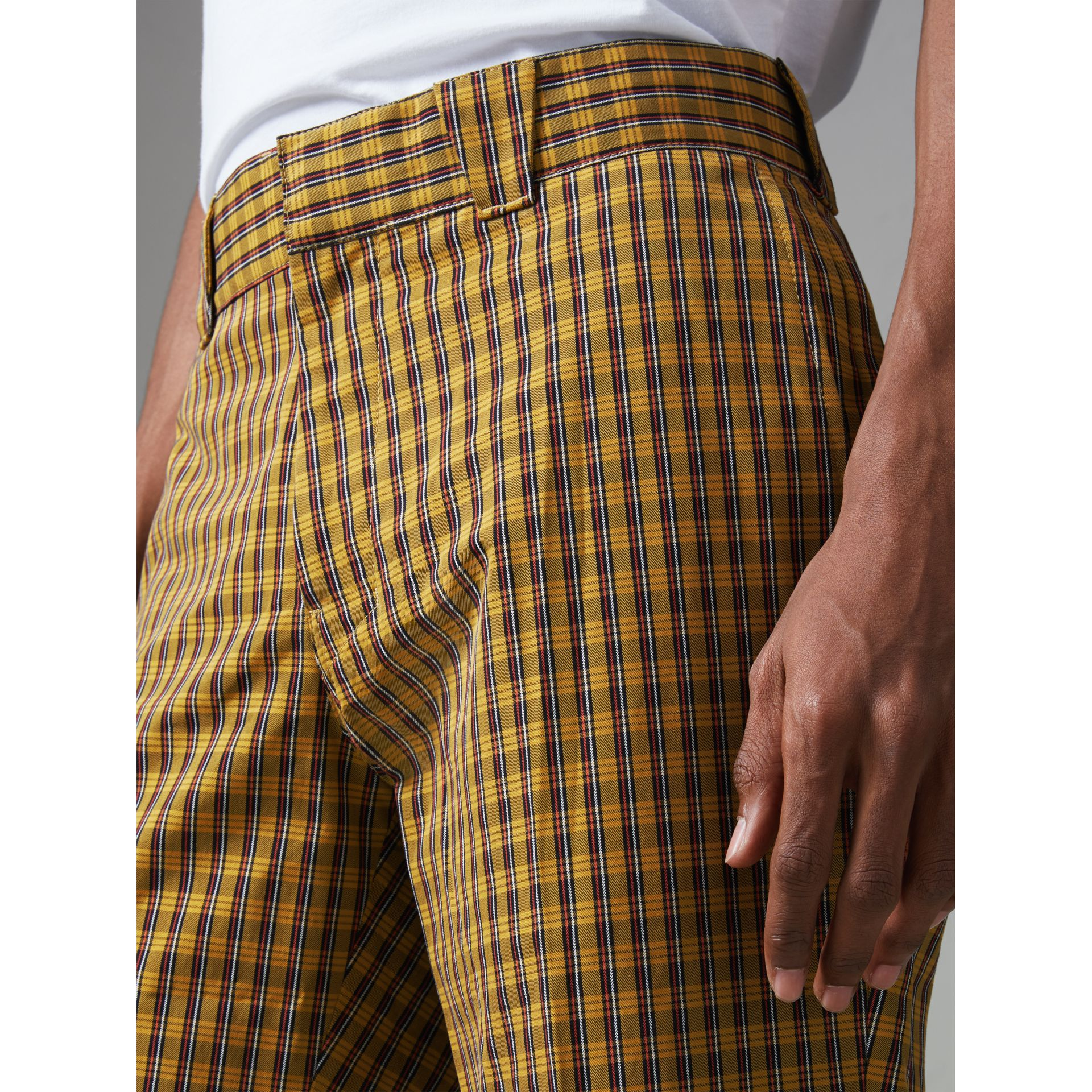 Check Washed Cotton Trousers in Bright Saffron Yellow - Men | Burberry Hong Kong - gallery image 1