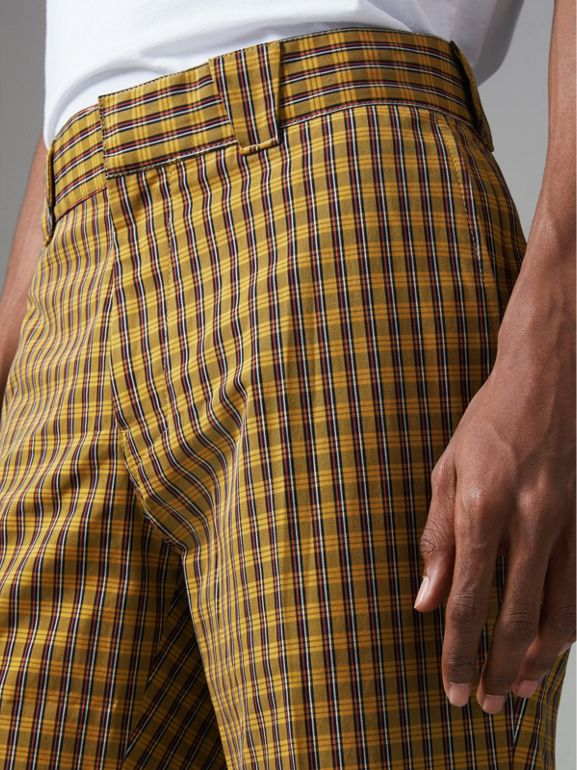 Check Washed Cotton Trousers in Bright Saffron Yellow - Men | Burberry Hong Kong - cell image 1