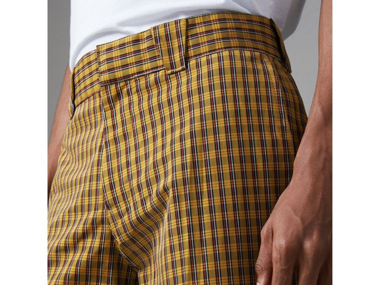 Check Washed Cotton Trousers in Bright Saffron Yellow - Men | Burberry Australia - cell image 1