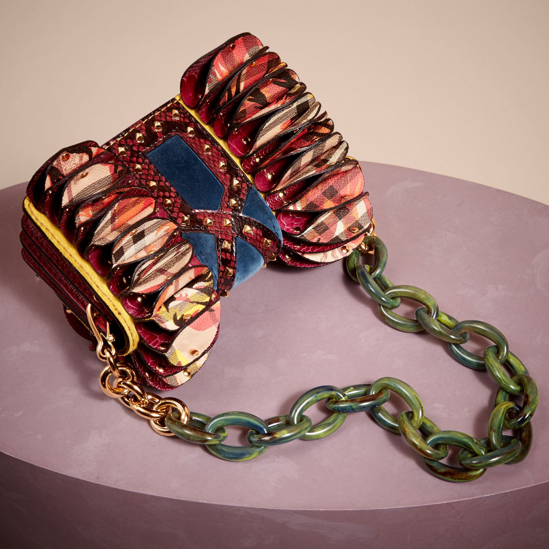 The Ruffle Buckle Bag in Snakeskin, Ostrich and Check in Larch Yellow - gallery image 5