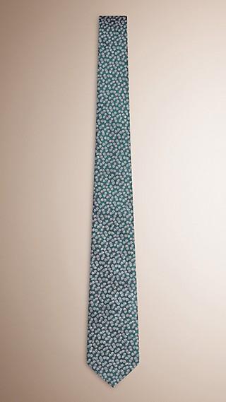 Modern geschnittene, Jacquard-gewebte Krawatte aus Seide und Leinen mit floralem Muster