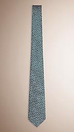 Modern Cut Floral Jacquard Silk Linen Tie