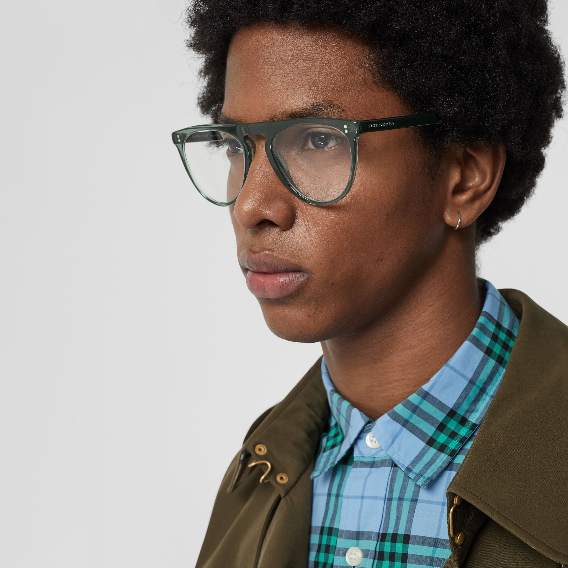Keyhole D-shaped Optical Frames in Green - Men | Burberry - gallery image 2