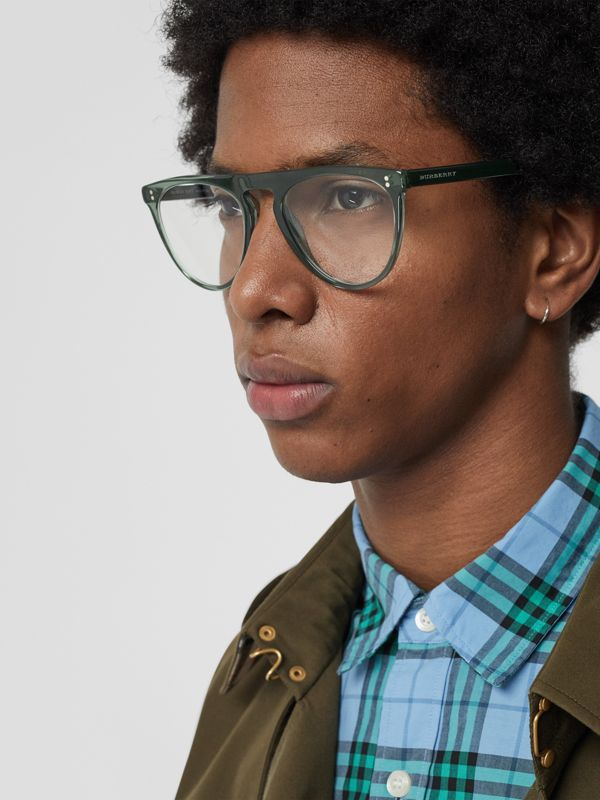Keyhole D-shaped Optical Frames in Green - Men | Burberry - cell image 2