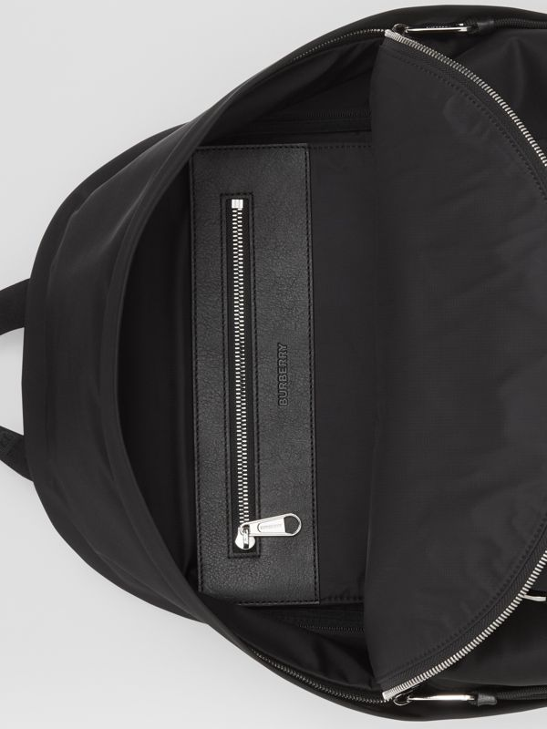 Logo Print ECONYL® Backpack in Black | Burberry - cell image 3