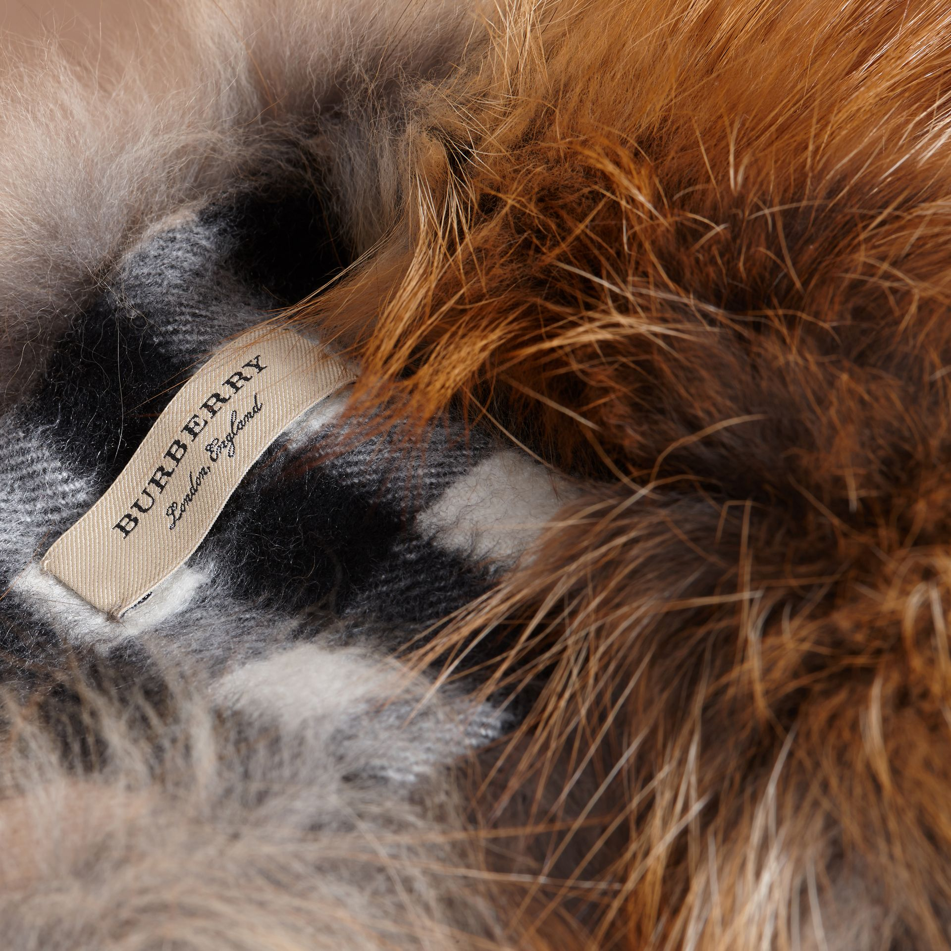 Fox Fur Collar with Check Cashmere Lining in Camel - gallery image 2