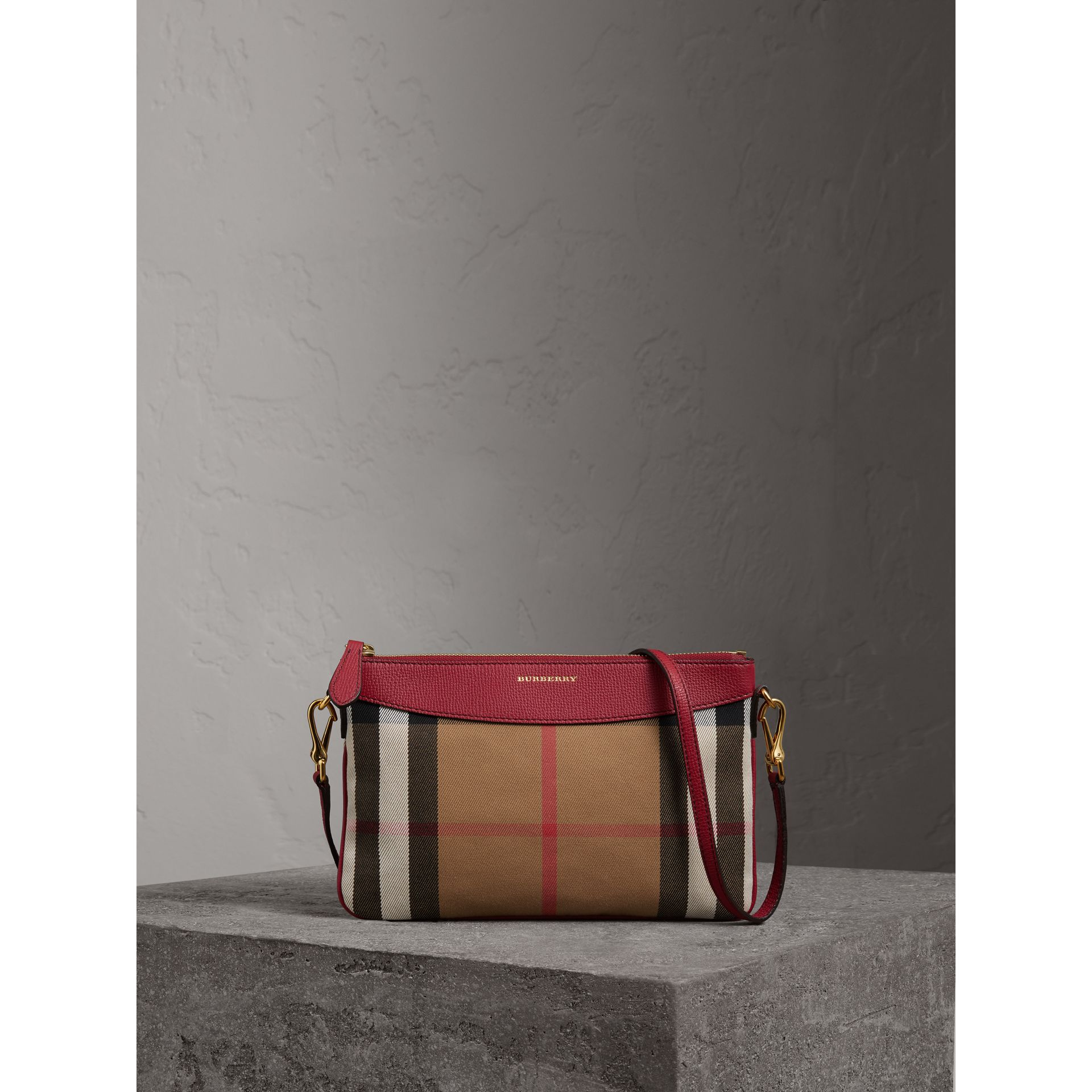 House Check and Leather Clutch Bag in Military Red - Women | Burberry Australia - gallery image 1