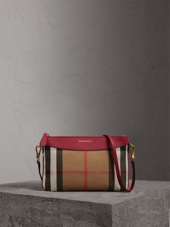 House Check and Leather Clutch Bag in Military Red