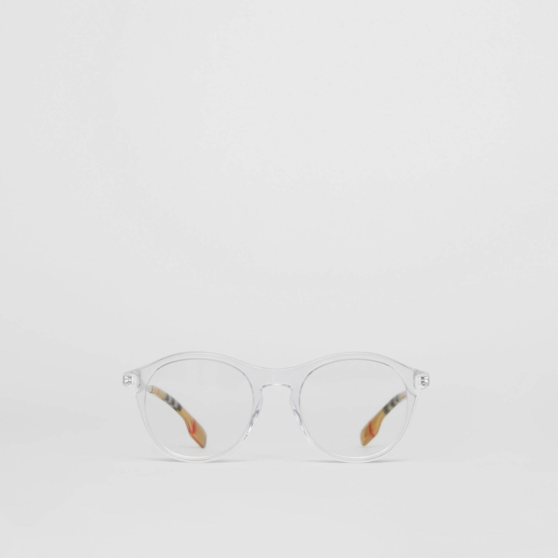 Vintage Check Detail Round Optical Frames in Crystal - Women | Burberry Australia - gallery image 0