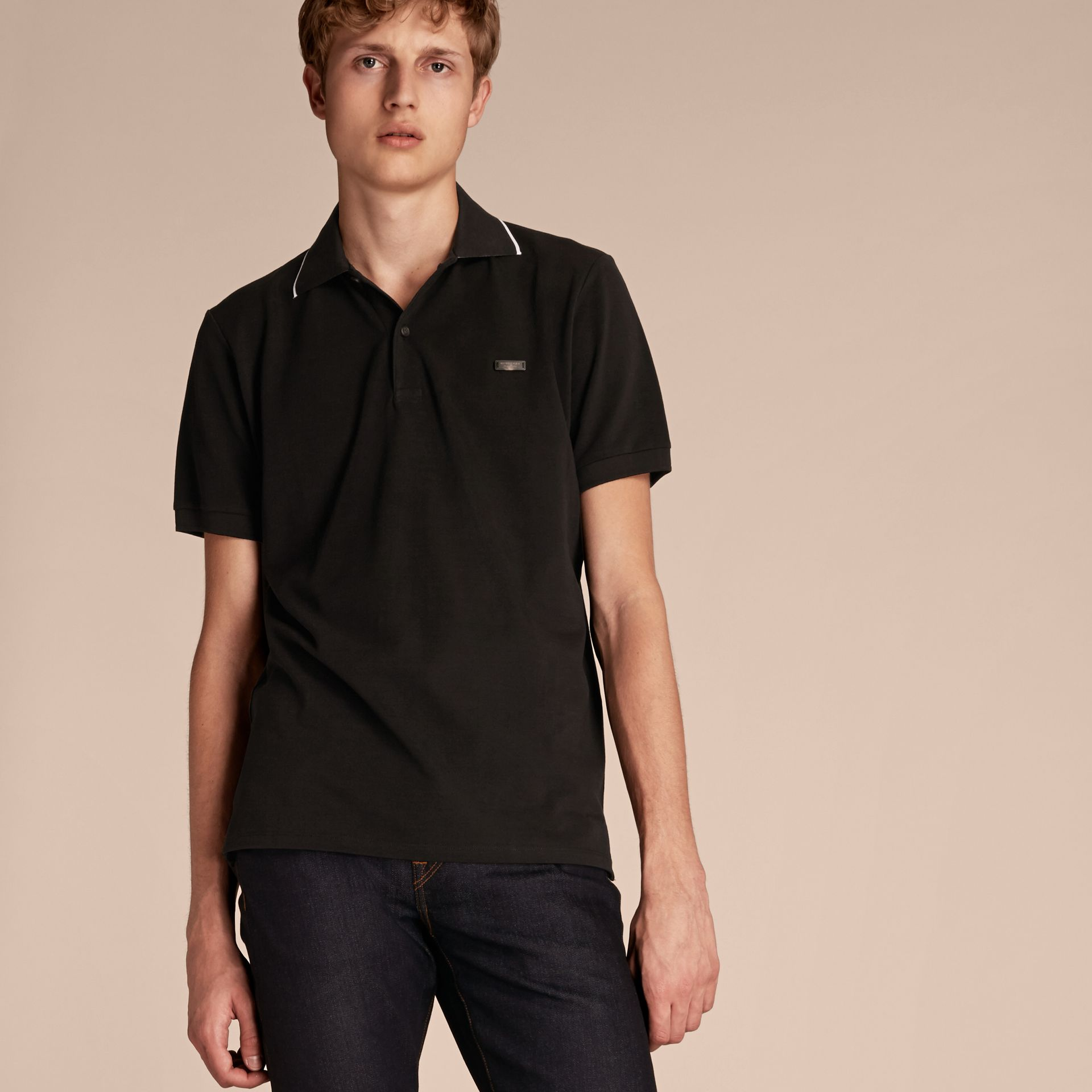 Tipped Collar Cotton Piqué Polo Shirt in Black - gallery image 6