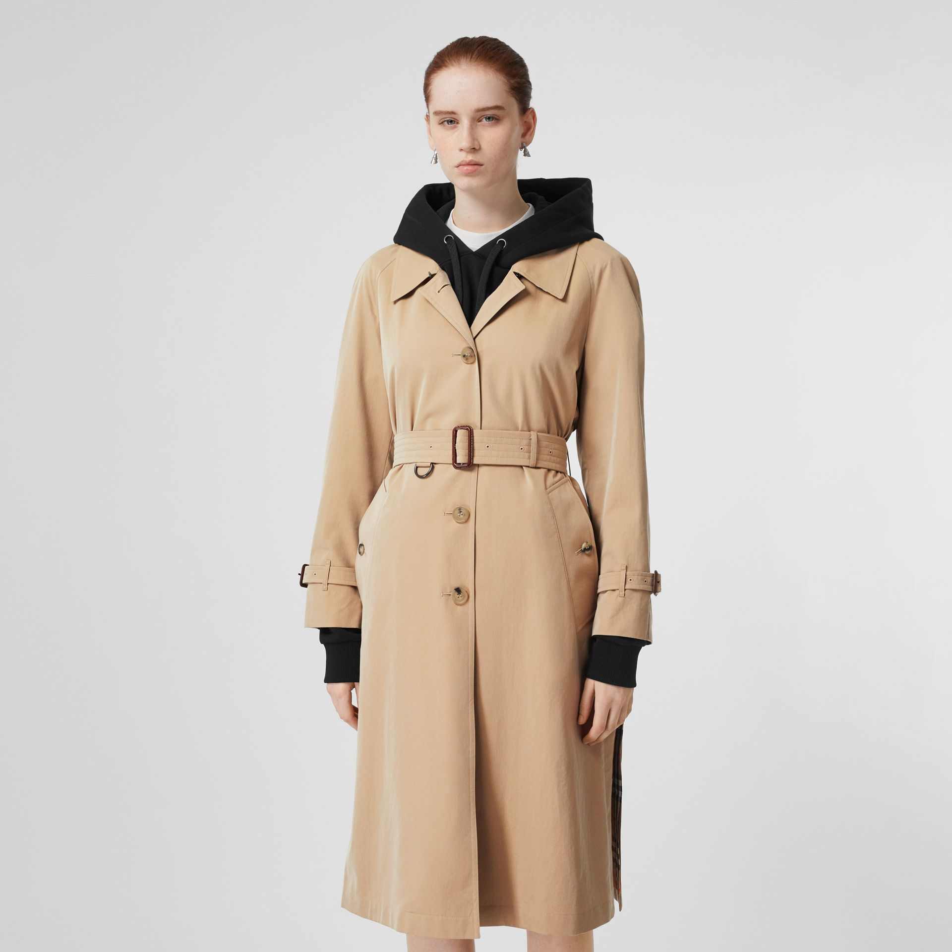 Side-slit Tropical Gabardine Trench Coat in Honey - Women | Burberry - gallery image 5