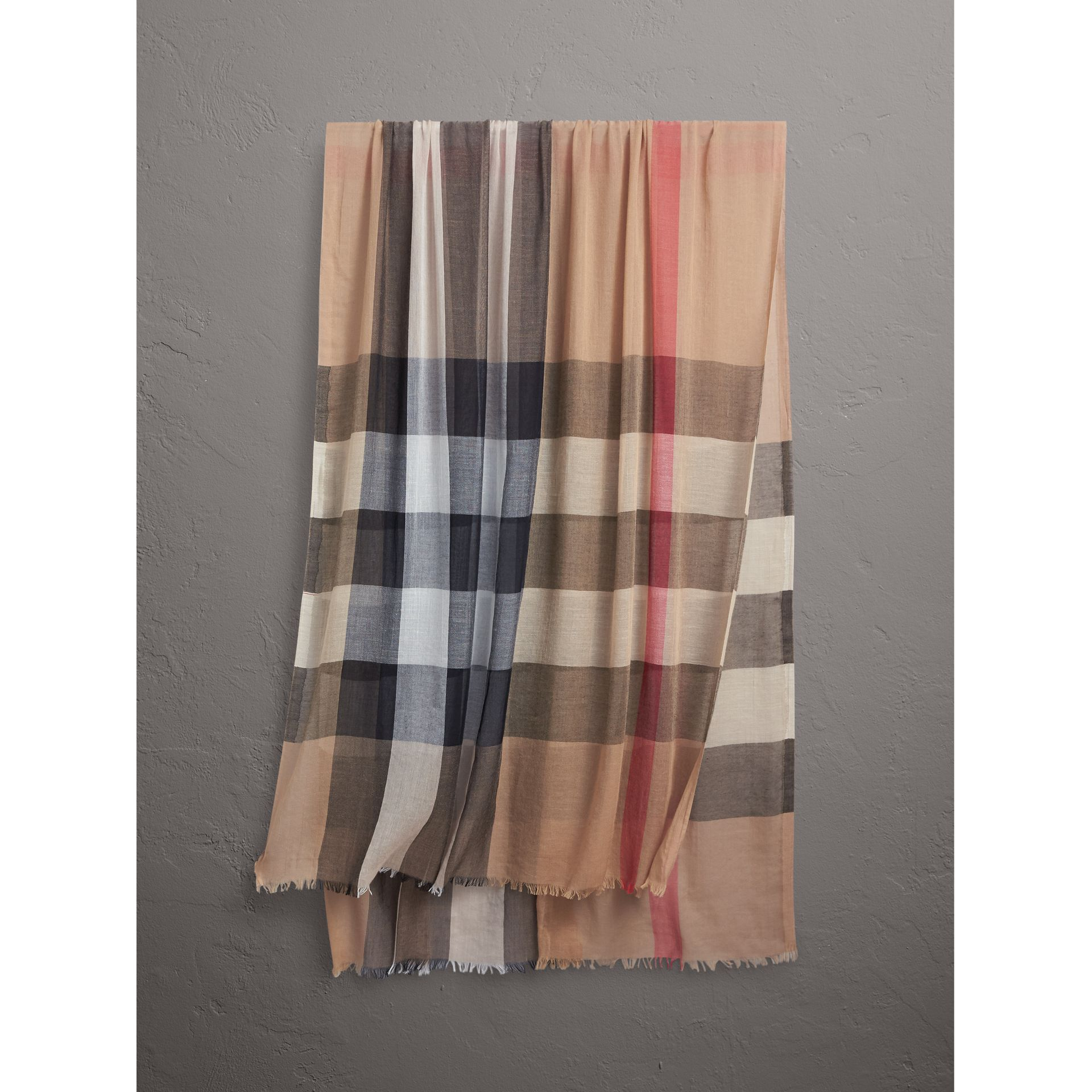 Check Modal Cashmere and Silk Scarf in Camel | Burberry Canada - gallery image 1