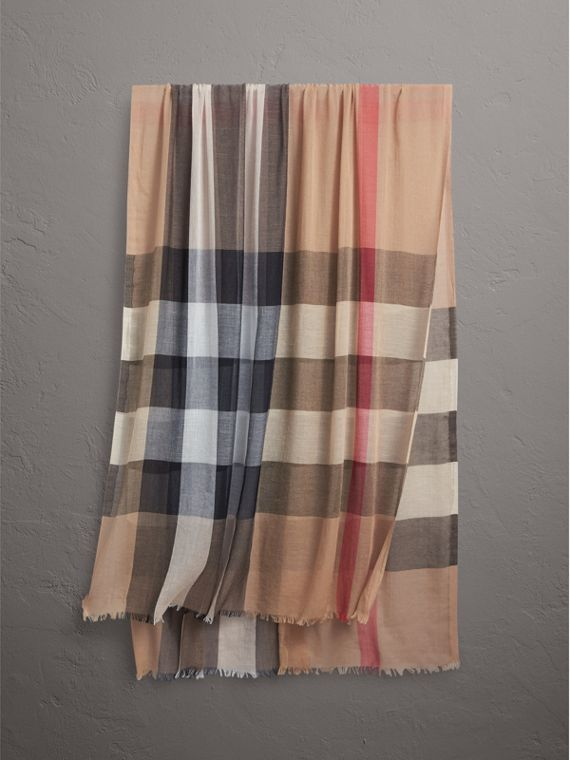 Check Modal Cashmere and Silk Scarf in Camel