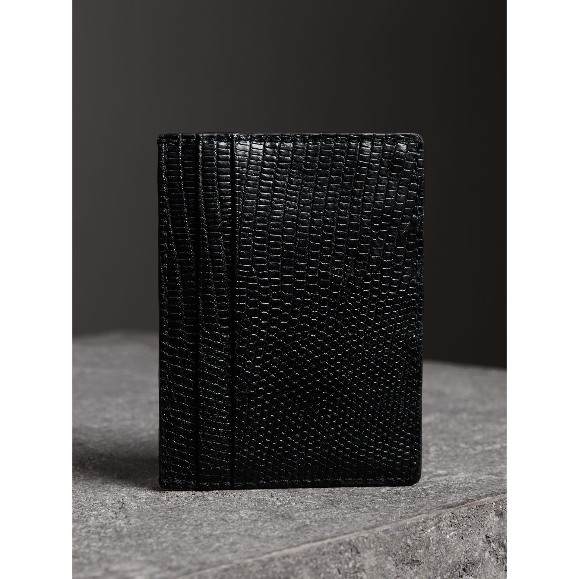 Lizard Card Case in Black | Burberry - gallery image 2