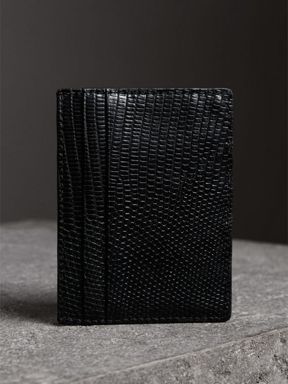 Lizard Card Case in Black | Burberry United Kingdom - cell image 2