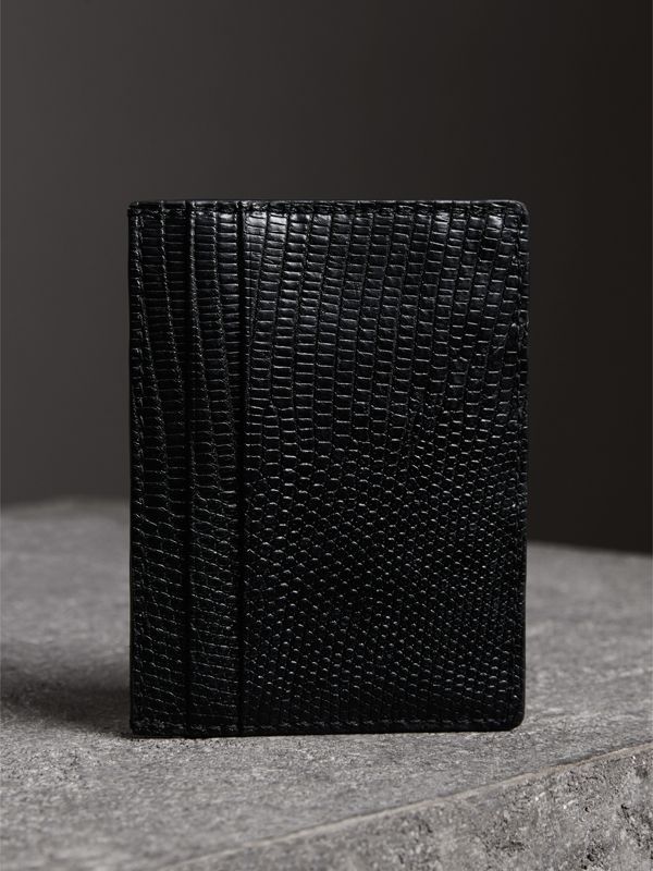Lizard Card Case in Black | Burberry - cell image 2