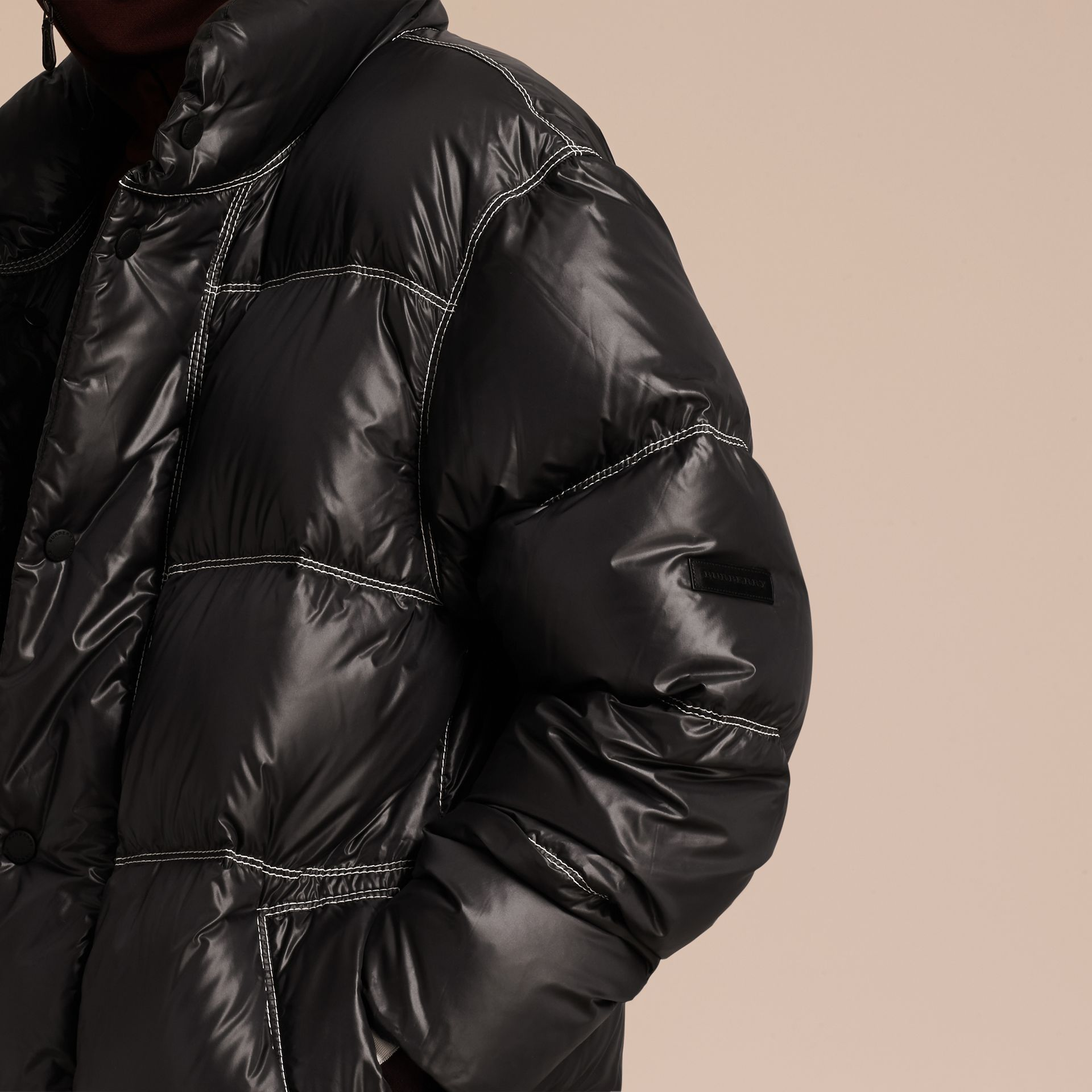 Black Down-filled Puffer Coat - gallery image 6