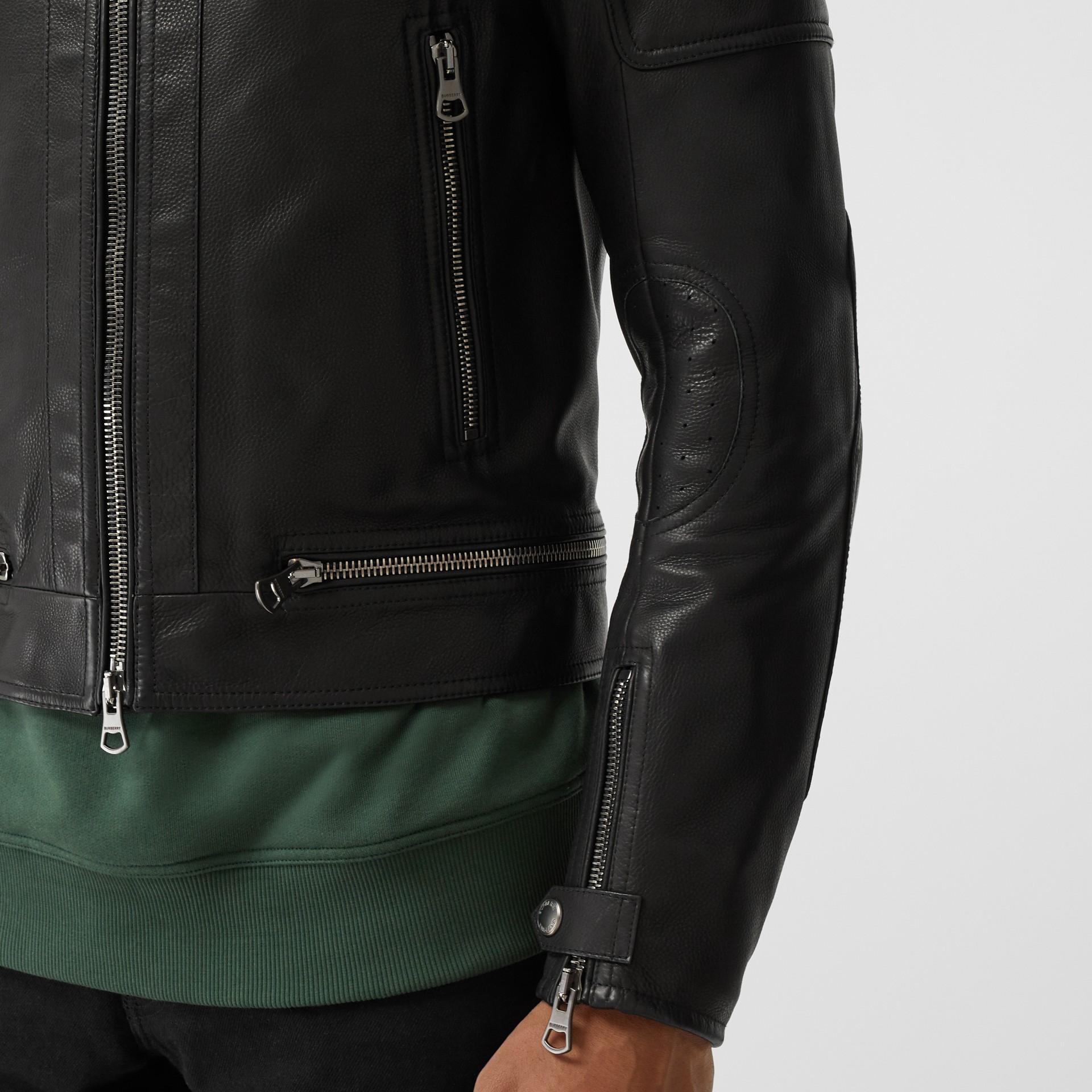 Logo Appliqué Leather Jacket in Black - Men | Burberry - gallery image 4