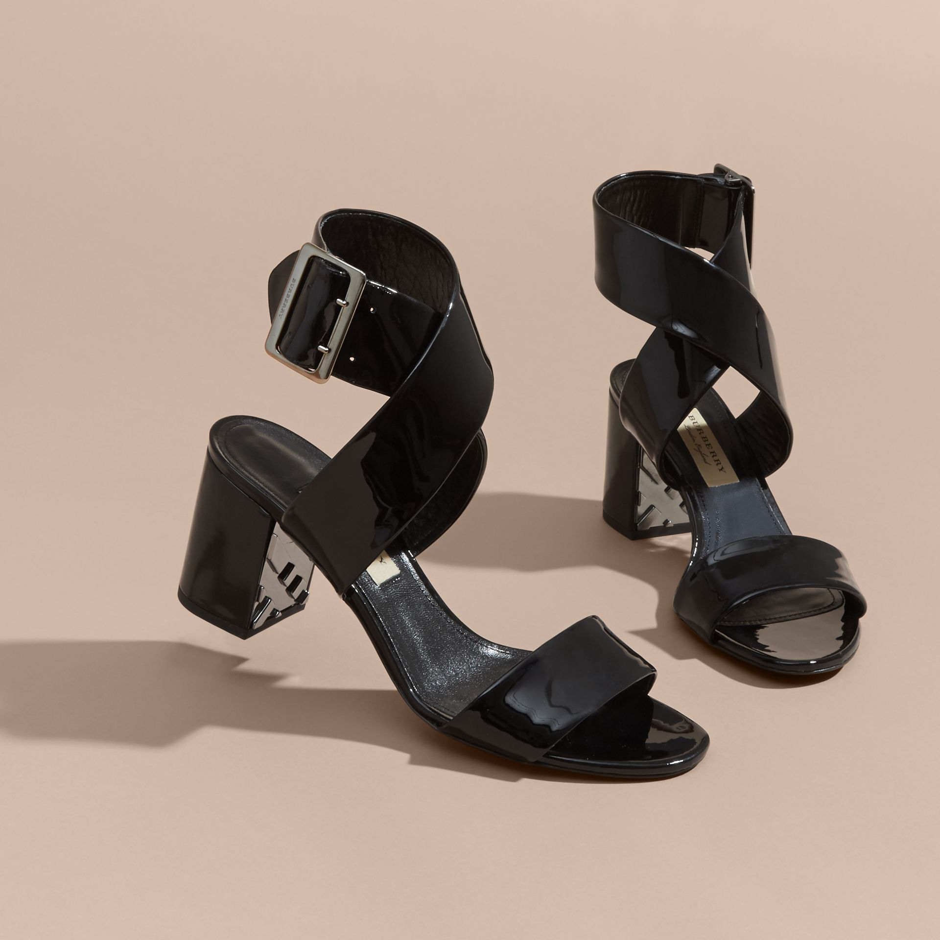 Patent Leather Sandals with Buckle and Check Detail - gallery image 4