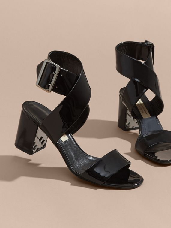 Patent Leather Sandals with Buckle and Check Detail Black - cell image 3