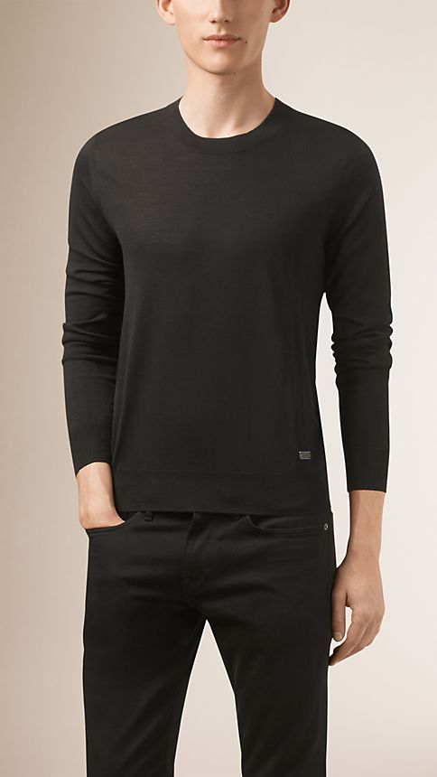Black Crew Neck Merino Wool Sweater - Image 1