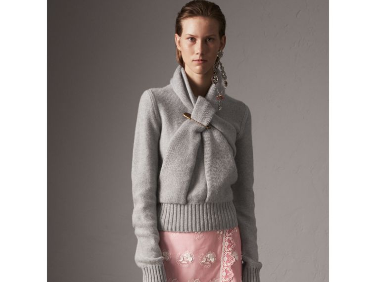 Cashmere Tie-neck Sweater in Pale Grey Melange - Women | Burberry Australia - cell image 4