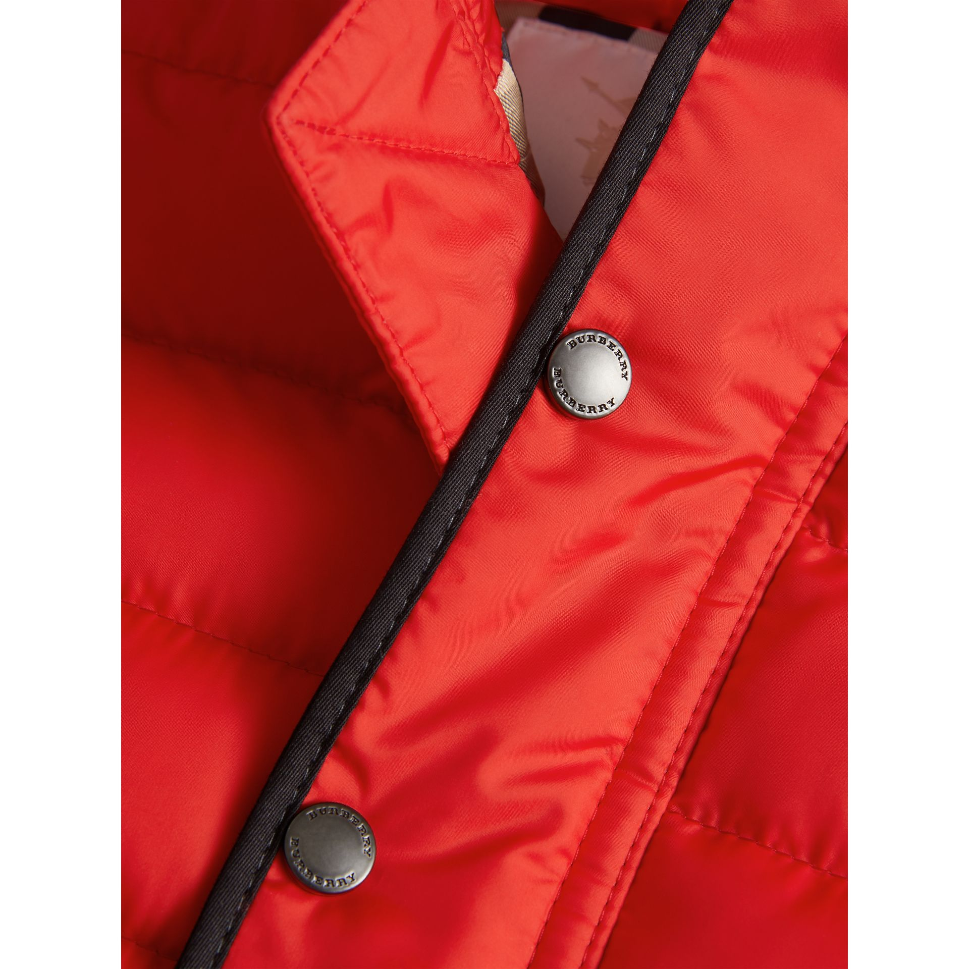 Down-filled Hooded Gilet in Bright Orange Red | Burberry - gallery image 1