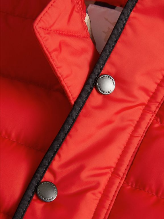 Down-filled Hooded Gilet in Bright Orange Red | Burberry - cell image 1