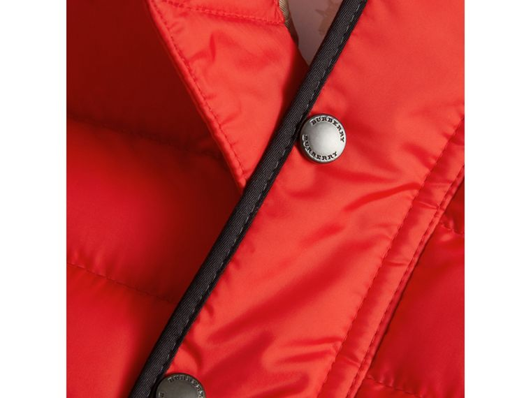 Down-filled Hooded Gilet in Bright Orange Red | Burberry United Kingdom - cell image 1