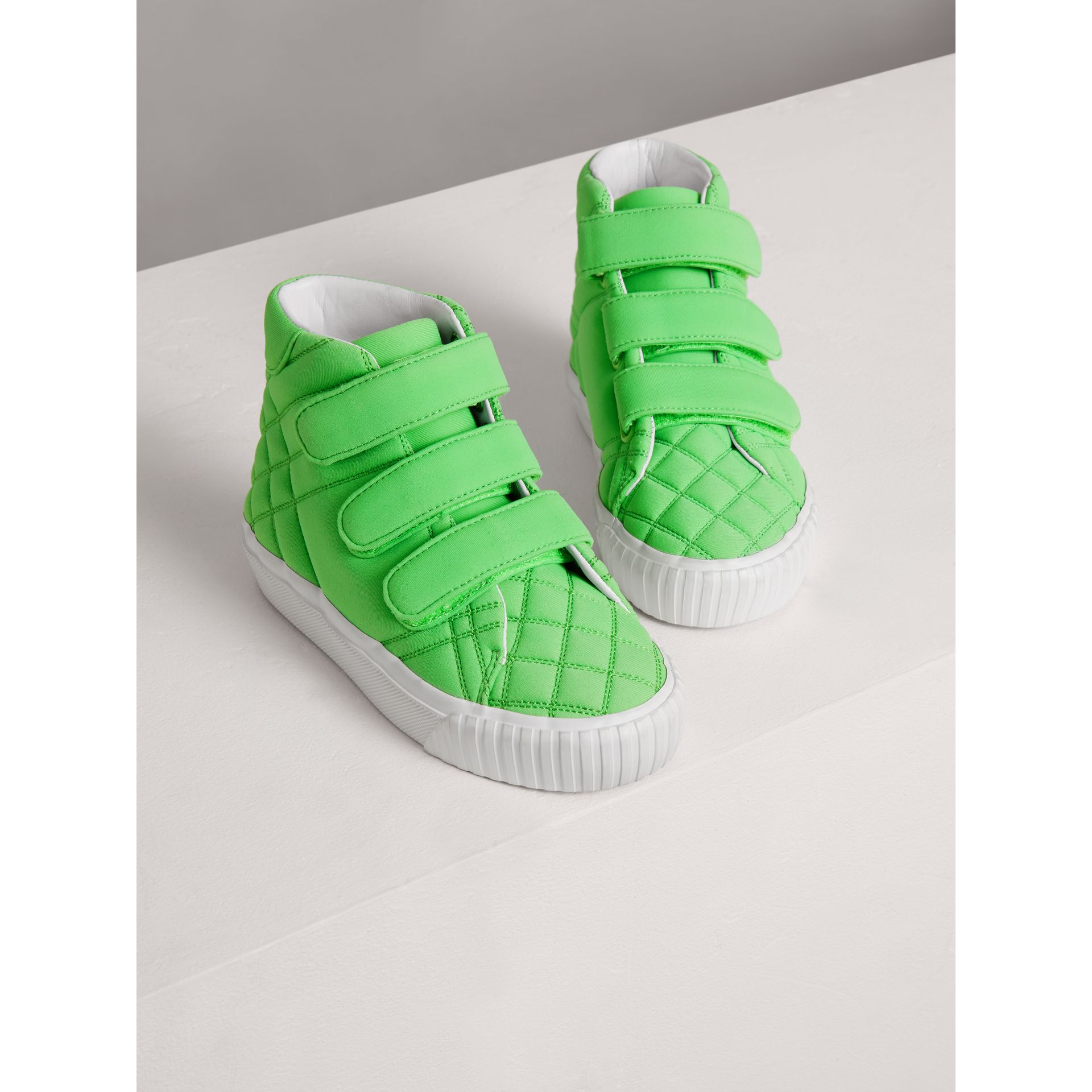 Quilted High-top Trainers in Neon Green | Burberry - gallery image 3