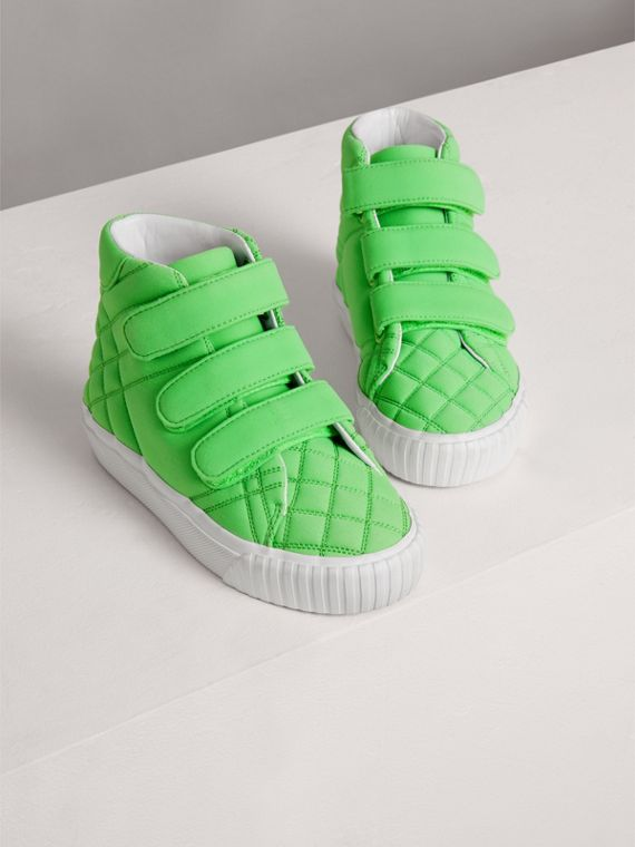 Quilted High-top Trainers in Neon Green | Burberry - cell image 3