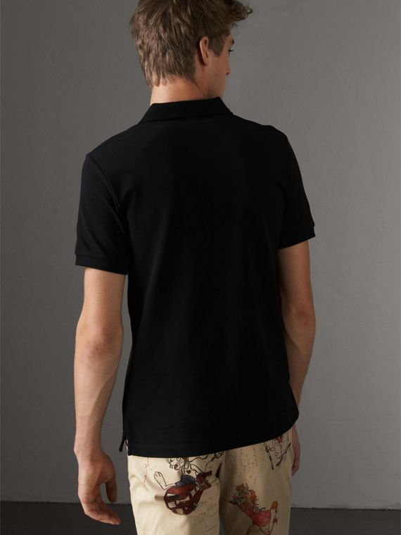 Tartan Trim Cotton Piqué Polo Shirt in Black - Men | Burberry Australia - cell image 2