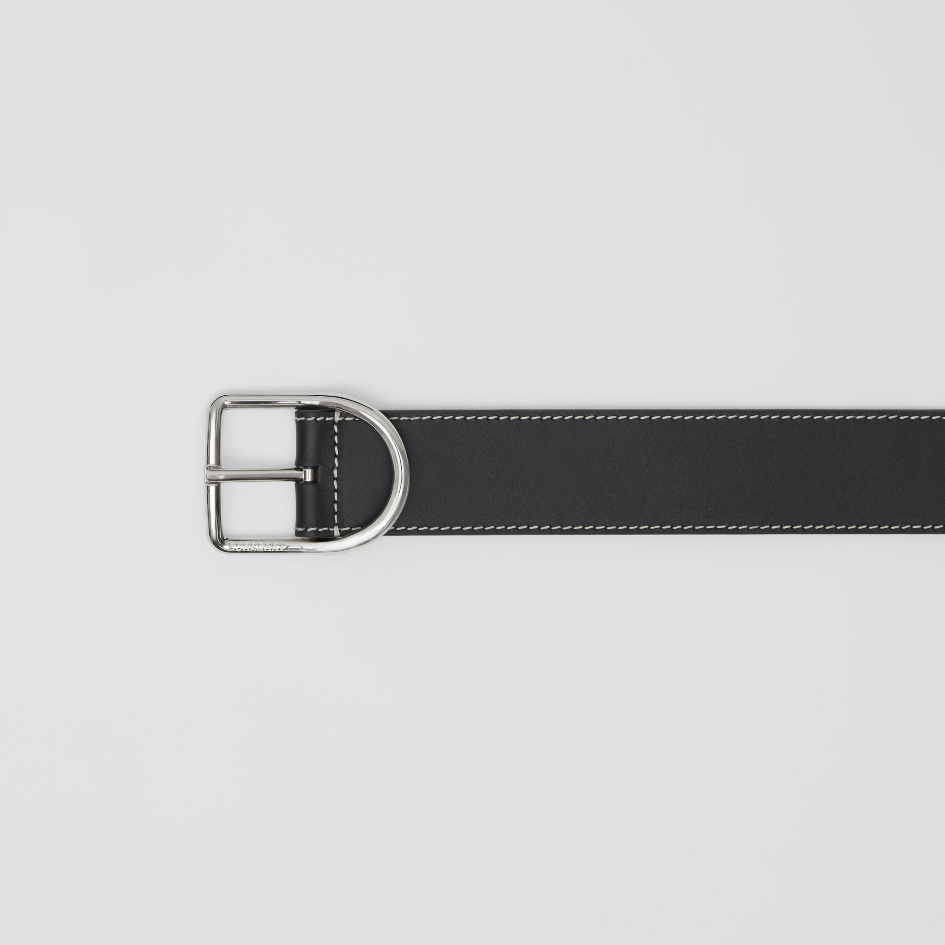 Topstitch Detail Leather Belt in Black - Men | Burberry Australia - gallery image 1