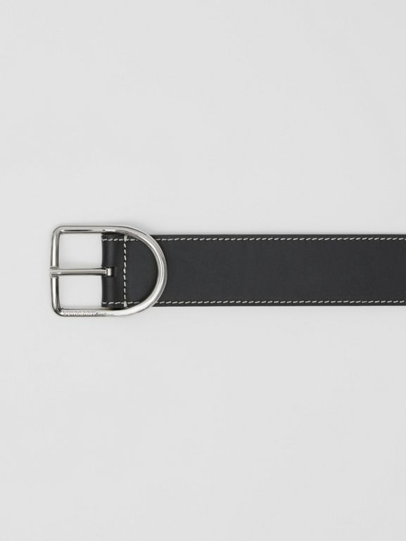 Topstitch Detail Leather Belt in Black - Men | Burberry Australia - cell image 1