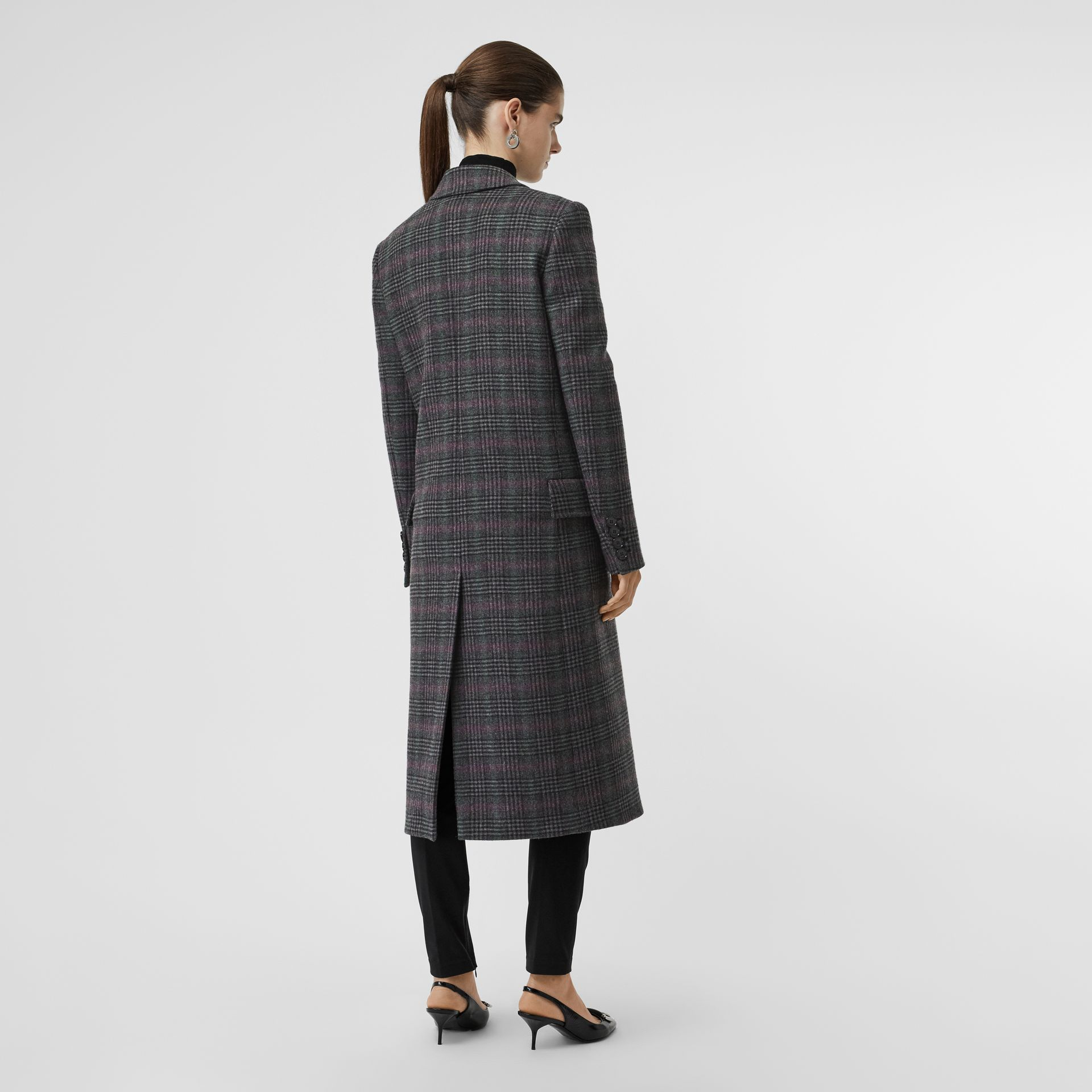 Prince of Wales Check Wool Tailored Coat in Charcoal - Women | Burberry United Kingdom - gallery image 2