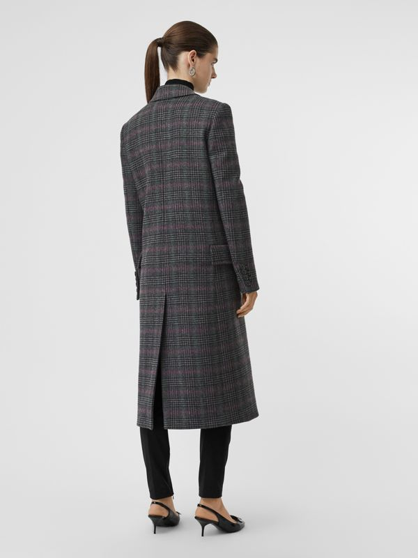 Prince of Wales Check Wool Tailored Coat in Charcoal - Women | Burberry - cell image 2